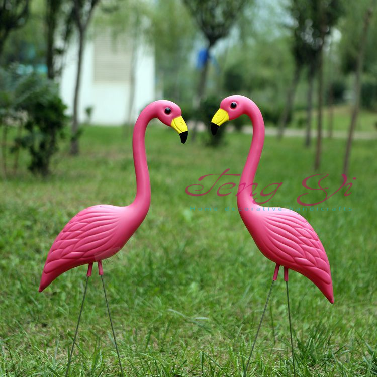 1pair plastic pink Flamingo landscape decoration wedding party Garden grass decor jagermeister models Folk Art ornaments(China (Mainland))