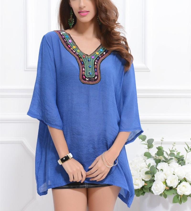 M-3XL NEW 2015 lady fashion women loose plus size casual retro plain embroidery shirt blouses & shirts fashion(China (Mainland))