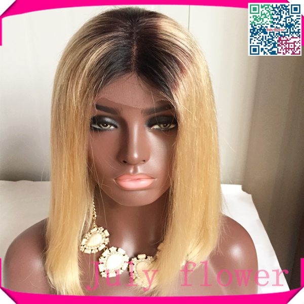 1bT613 two tone blonde full lace wig virgin brazilian human hair wigs with middle part ombre blonde hair wig with dark roots(China (Mainland))