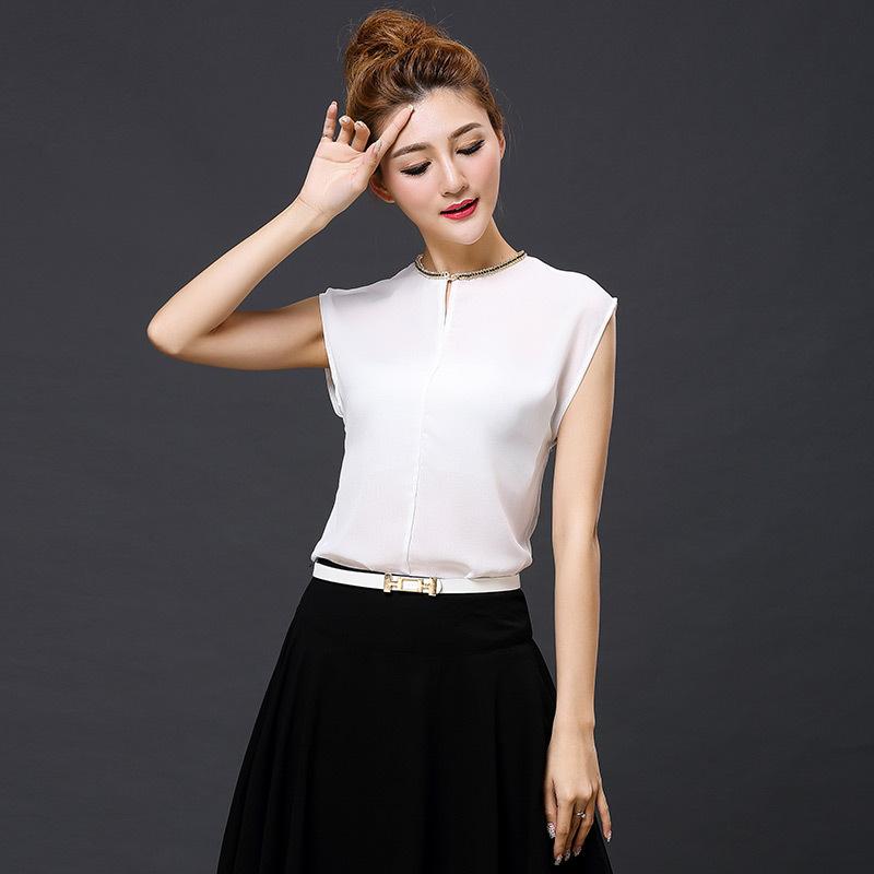 2015 New Summer Korea Women Blouses Chiffon Shirts Sleeveless Women Casual Shirts blusa feminina o-neck women Chain Neck Tops(China (Mainland))