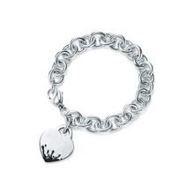 SHINETUNG 1:1 S925 Sterling Silver Original TIFF High Quality love heart Circle Heart Key Bracelet Women fashion Charm Jewelry(China)
