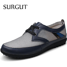 Fashion Men Casual Shoes Summer Flats High Quality Lace Leather Zapato New Business Shoes Breathable Mesh Botas Shoes Sale(China (Mainland))