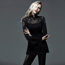 Punk new products punk gothic shirt hollow out turtleneck New Fashion Casual Tops slim fit women shirts Clothing