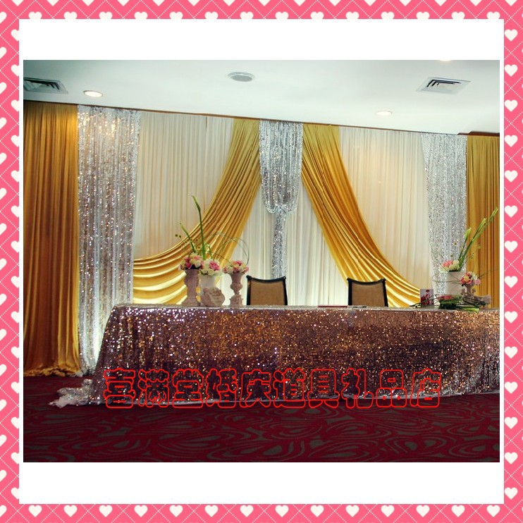 Romantic golden ice silk wedding backdrops for wedding for Background curtain decoration