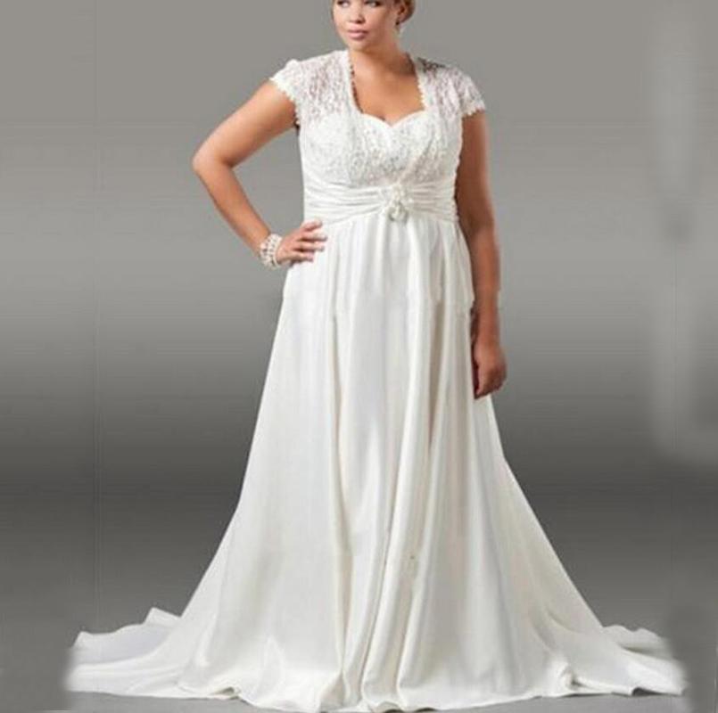 Plus size ivory long chiffon wedding dresses a line for Chiffon sweetheart wedding dress