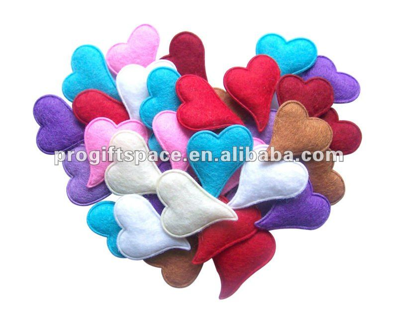 100pcs Mix Pink White Red Blue Small Felt Padded Decorative Hearts Free Shipping Romantic for Wedding Decoration Valentine Gift(China (Mainland))
