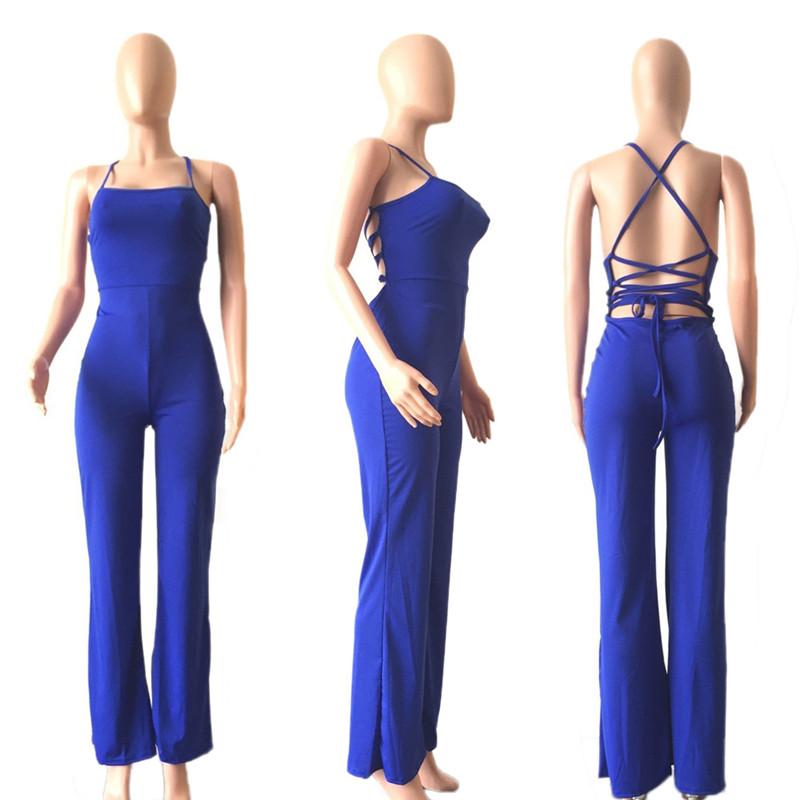 5e09275e19 2019 Wholesale OHVERA Women Jumpsuits Summer Slim Black Bodycon ...
