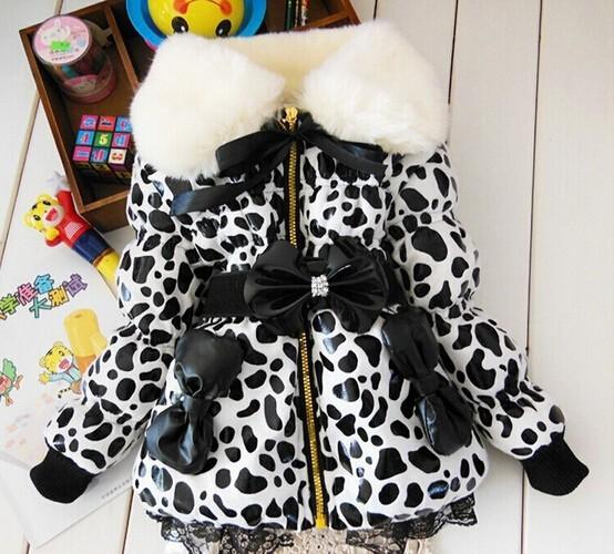 Fashion Leopard Baby outerwear & coat Kids Girls Faux Fur Fleece Party Coat Winter Warm Parkas(China (Mainland))