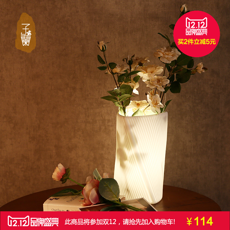 dried flowers white ceramic table lamp balcony led lighting Translucent white porcelain hand-carved to floral<br><br>Aliexpress