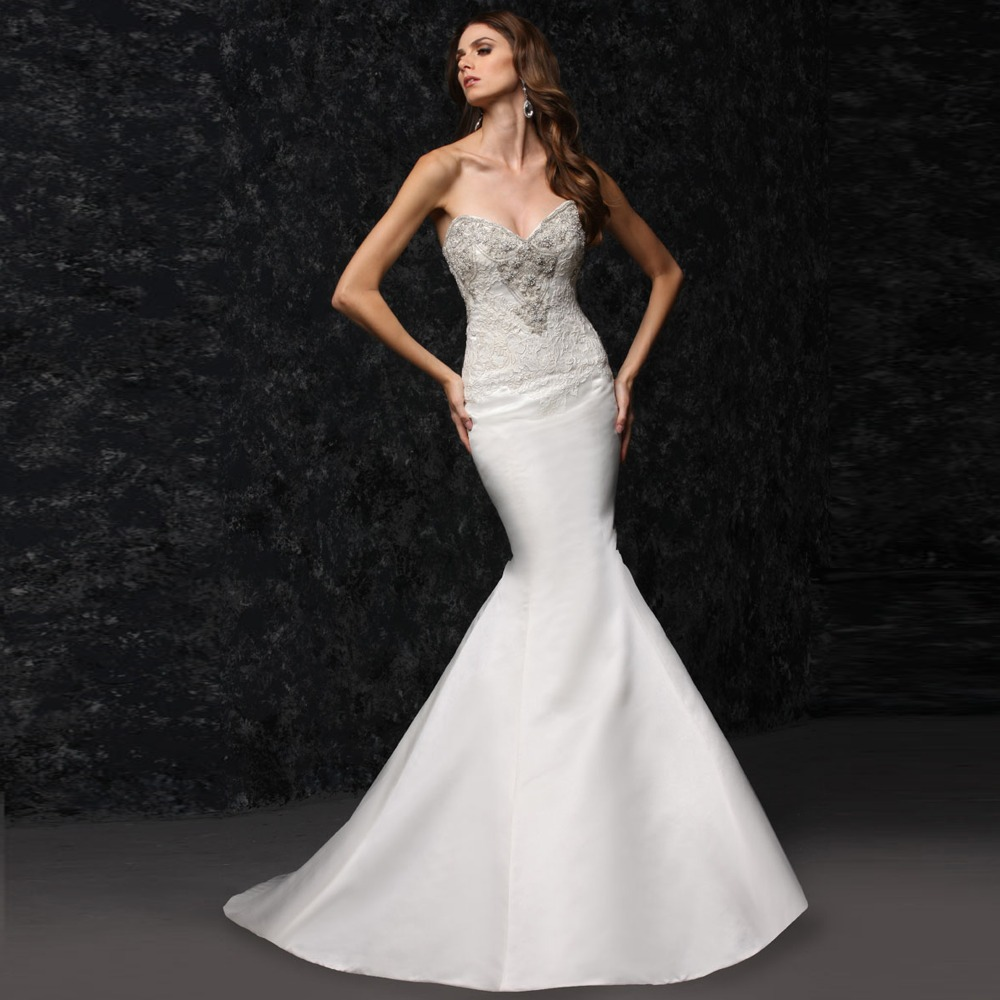 strapless lace satin mermaid tight wedding dress in With tight wedding dresses