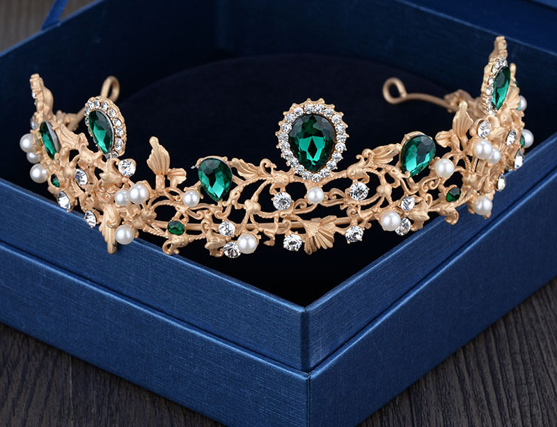 2016 gold green crystal tiaras wedding accessories bridal party hair jewelry rhinestone crown T531(China (Mainland))
