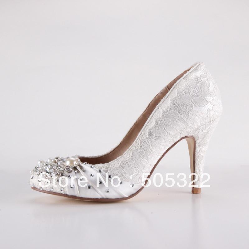 JWS357 Custom Made XINQUAN Women High Heels Perfect Wedding Shoes Lace Bridal