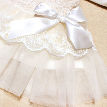 Baby Girls Sleeveless Lace Crochet Princess Dress Kids With Bow Belt Party Dresses Free Shipping