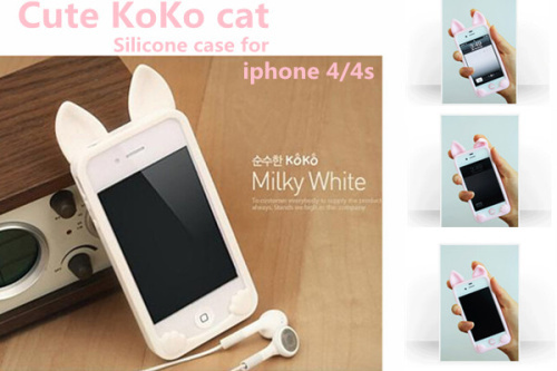 New 3D koko cute Ear Cat Rabbit soft silicone Case For IPhone 4 4s phone cases Ear can Open the screen(China (Mainland))