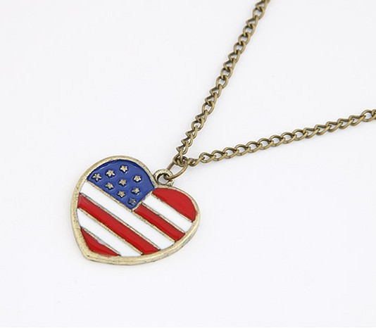 2014 Fashion Retro American Flag Long Vintage Heart fashion necklaces for women 2014 Statement SPX1854(China (Mainland))