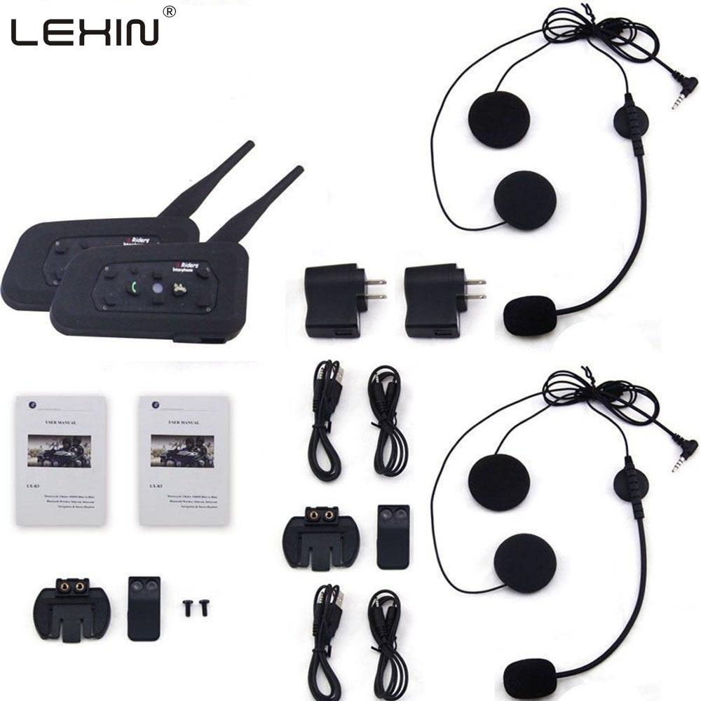 Фотография LEXIN 2pcs R6 BT Multi Interphone Bluetooth Intercom Motorcycle Wireless Headphones Accessories 1200M Helmet Headset 6 Riders