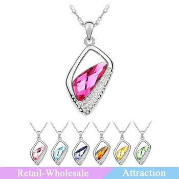 Fashion Jewelry Imported Crystal Platinum Plating Irregular Rhombus Crystal Necklaces  For Women Wholesasle