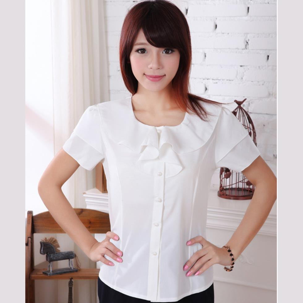 Short sleeve white blouse with ruffles fashion ql for White shirt for ladies