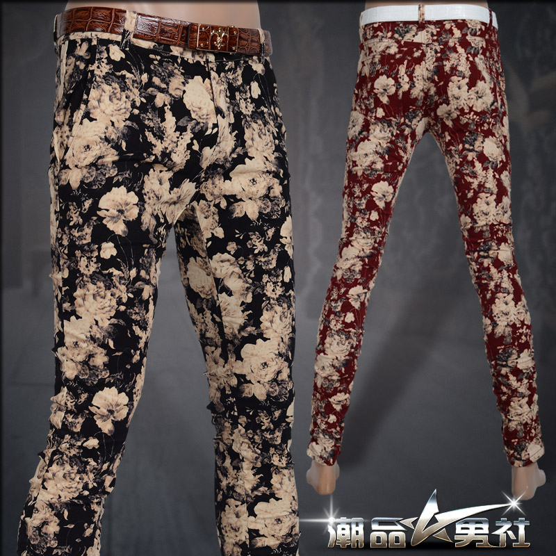 2015 new design mens winter trousers slim fashion personality print flower skinny pants tight fitting male casual long