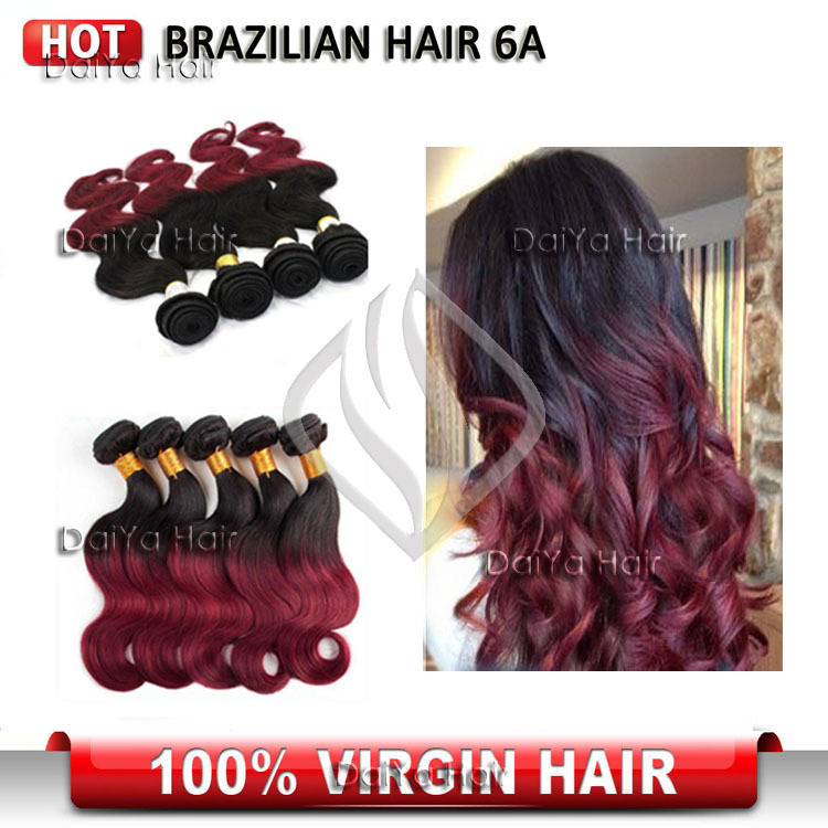 Hot Sale 3pcs/lot Remy Human brazilian body wave ombre hair extensions Two Tone #1B/Burgundy For Free Shipping(China (Mainland))