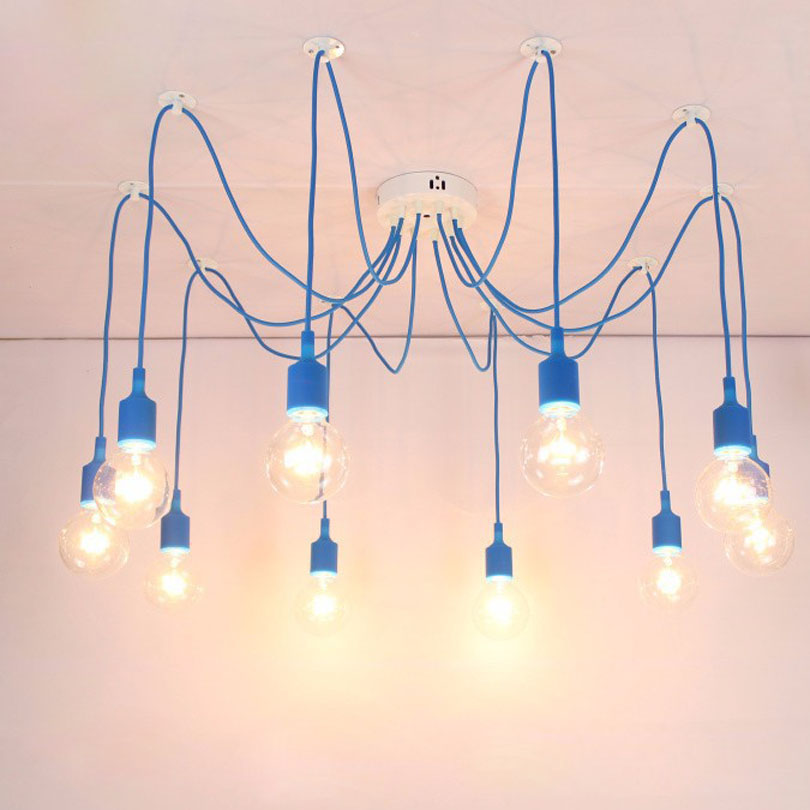 13 Colors Industrial Vintage Pendant Lights Edison Lamp Adjustable DIY Art Pendant Lamp 4//6/8/10/12 Home Decoration Lightting