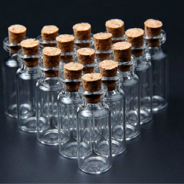 20 pcs pack 16x35 mm tiny small clear cork glass bottles for Small colored glass jars