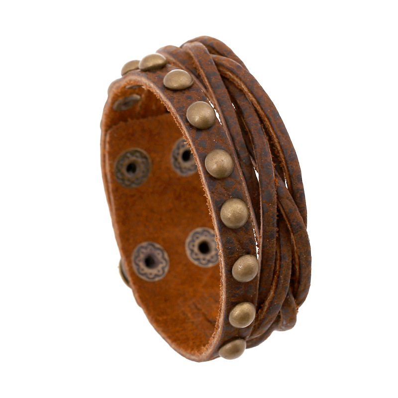 punk charm leather bracelets Stable supply factory outlets latest European and American retro fashion jewelry leather bracelets(China (Mainland))