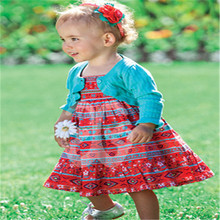 girls clothing sets girls brand summer dress suit 2016 new roupas infantis menina children fashion baby dress +coat two pieces
