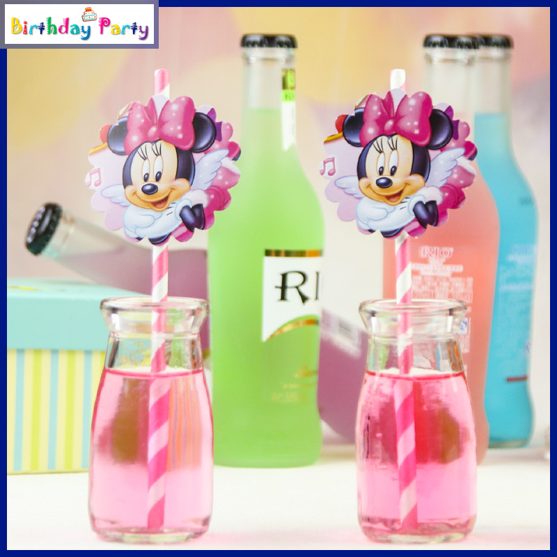 New 12 pcs Minnie Mouse Biodegradable Paper Drinking Straws Party Wedding Birthday Holiday Wave free shipping(China (Mainland))