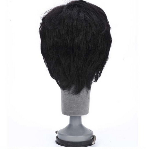 2015 wigs short hair men synthetic hair extensions male wig middle-aged man hair wigs male black,dark brown high quality