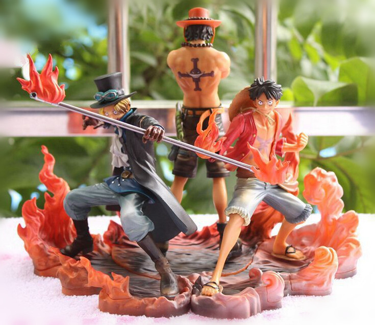 One Piece Figure Japanese Anime Figure Ace Luffy Sabo DXF One Piece Action Figure Pvc Cartoon Figurine One Piece Toys Juguetes(China (Mainland))