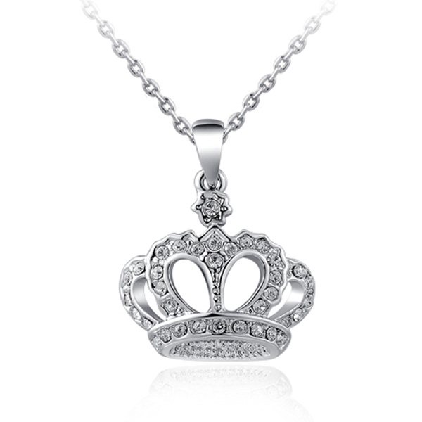 Top Quality Crown Necklace Rhinestone Crystal Silver Gold Plated Pendant Necklaces Classic Chokers Necklace Jewelry For Women(China (Mainland))