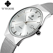 WWOOR New Top Luxury Watch Men Brand Men's Watches Ultra Thin Stainless Steel Mesh Band Quartz Wristwatch Fashion casual watches(China (Mainland))