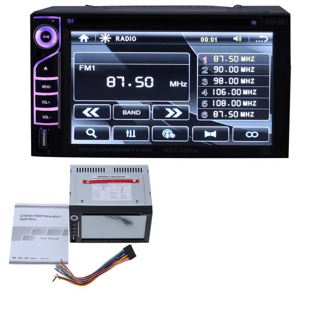 За рубежом Красивый ИНТЕРФЕЙС Дизайн 6.2 Дюймов Универсальный Двойной Din Автомобильный DVD/USB/SD Игрока HD Мультимедиа Bluetooth Радио развлечения