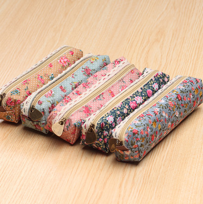 4 Color Fashion Mini Retro Floral Lace Pencil Bag Class Zipper Pen Case Cosmetic Makeup Bag Office & School Supplies OP2014(China (Mainland))