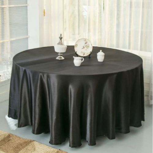 10pcs Black 120 Inch Round Satin Tablecloths Table Cover for Wedding Party Restaurant Banquet Decorations(China (Mainland))