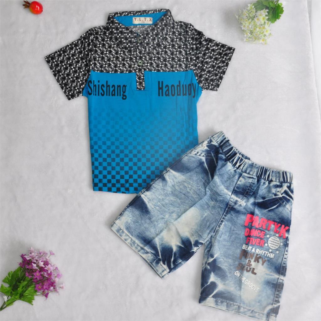 New 2015 Summer style boy Set children Boy casual short sleeve T-shirt + High quality Denim shorts Set Kids Fashion suit(China (Mainland))