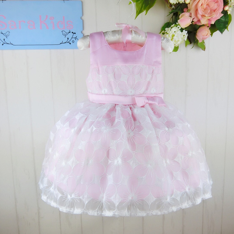 Wholesale three color two different pattern ball gown dress kid girls dress party dress size:1-6 6pcs/1lot   2014285