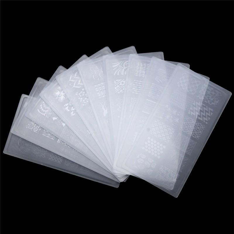 3Pcs/Lot Plastic Nail Art Stamping Plates Geometric Patterns Clear Stamper Nail Stamping Plates Manicure Template Nail Tools