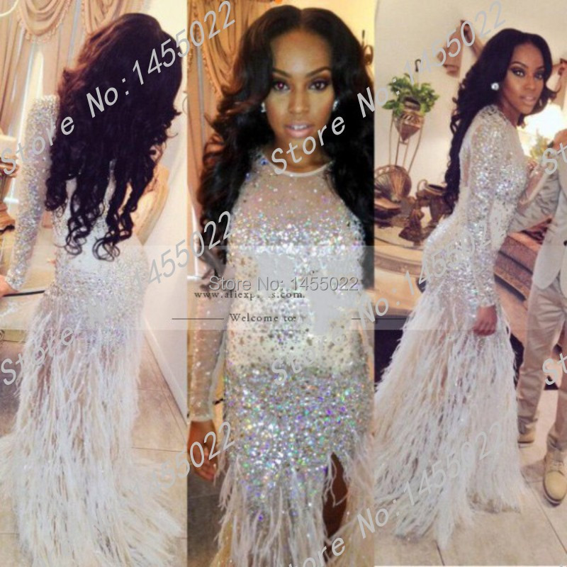 Long Prom Dresses With Feathers Long Sleeve Prom Dress See