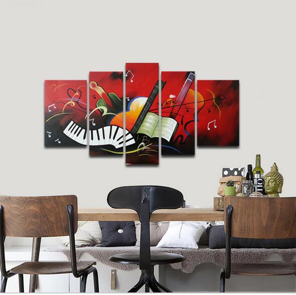Wieco Art The Music Score Modern Artwork 5 Panels 100% Hand-painted Abstract Oil Painting on Canvas Wall Art with Framed(China (Mainland))