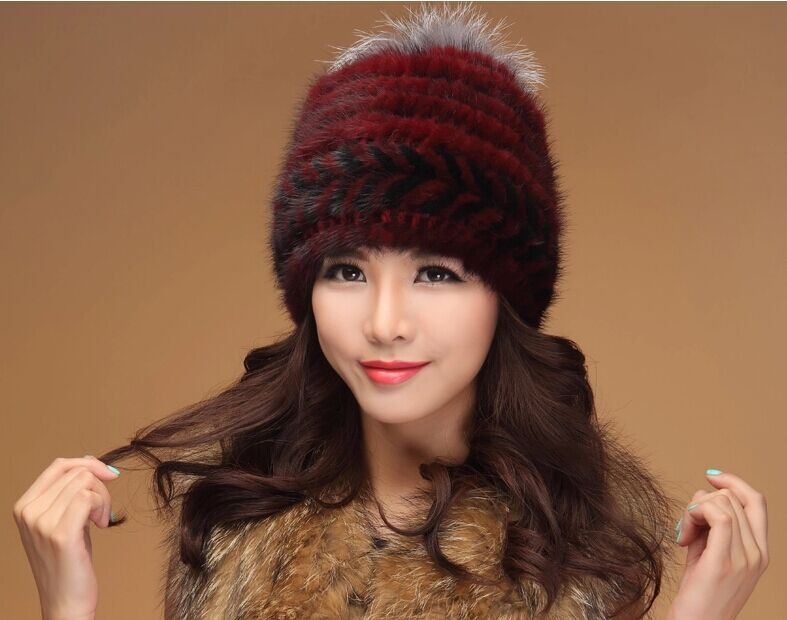 Female Mink Fur 2015 fashion Thick warm fur hat knitted Winter hat lady hat high-grade mink Fur womanОдежда и ак�е��уары<br><br><br>Aliexpress