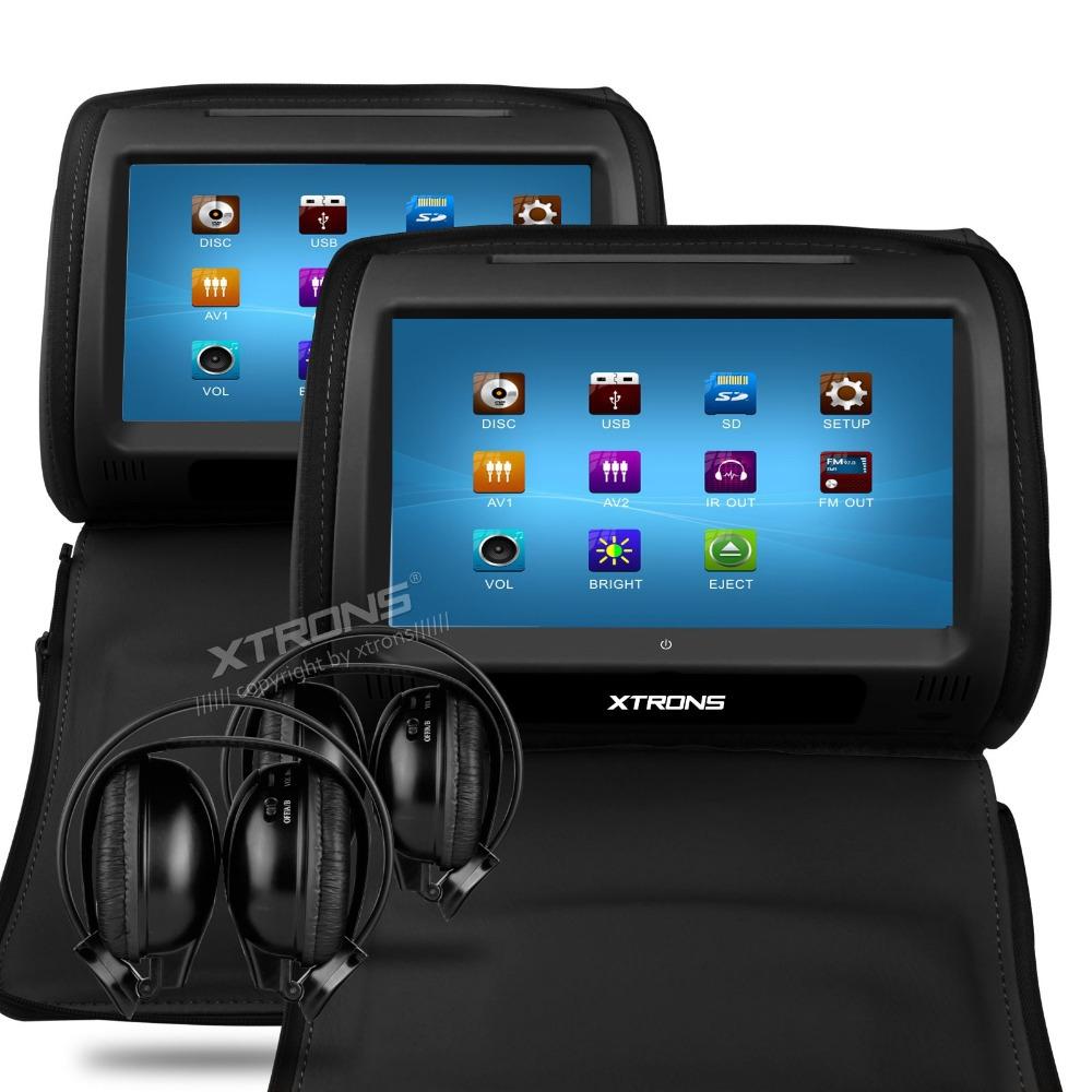 "XTRONS Black 2X Car Headrest DVD Player 9"" Touch Screen USB Game IR Headset(China (Mainland))"