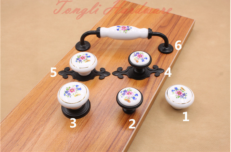 10 pcs/lot white vintage ceramic door handle/pull with blue flower, for cabinet, locker,kitchen and drawer small furniture knob(China (Mainland))