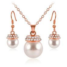 ERLUER Schmuck Sets Für Frauen mode hochzeit kristall Strass Simulierte-perle Charme halskette ohrringe set Marke Schmuck(China)
