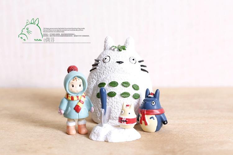 BEST SALE Toy set 4PCS/Set Hayao Miyazaki Totoro Cartoon Anime Animation Model Toy doll Christmas Gift lps toys MagicToy 0049(China (Mainland))