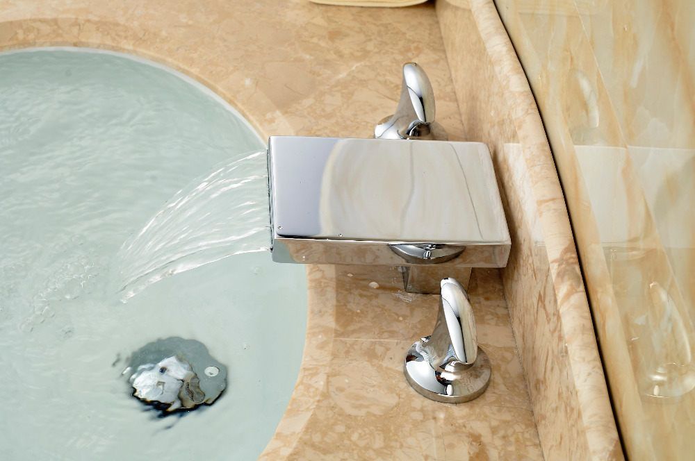 Modern Square Waterfall Bathroom Faucet 3 Holes 2 Handles Sink Mixer Tap Deck Mounted(China (Mainland))