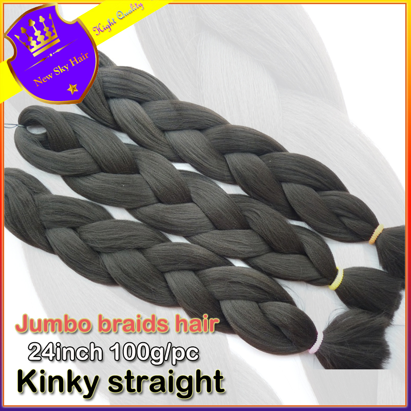 "wholesale African Box Hair natural black Braiding Expression Kanekalon Jumbo Braid Hair Extension 24""4pcs Synthetic hair(China (Mainland))"