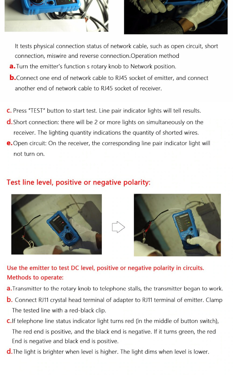 Bside Fwt11 Rj11 Rj45 Cat5 Cat6 Telephone Wire Tracker Tracer Toner Cable Open Circuit Tester Testers Ethernet Lan Network Line Finder