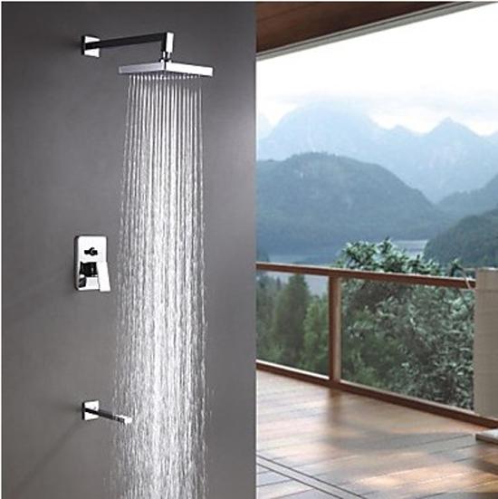 "Фотография Wall Mounted 8"" ABS Bathroom Bath Shower Set Tub Tap Mixer Chrome Brass Faucet Mixer Taps"